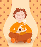Boy drinks coffee. Cartoon vector llustration Stock Photography