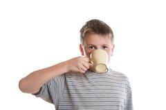 Boy drinks tea Stock Photos