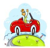 Boy drive car Stock Image