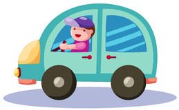 Boy driving a blue car Stock Images