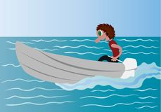 Rowing in the Calm Lake. A boy driving a boat in a calm lake vector illustration