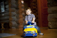 Boy driving car Royalty Free Stock Photo