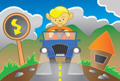 Boy driving a car. Illustration of a boy driving a car in late afternoon Royalty Free Stock Images