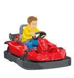 Boy driving go kart. Vector illustration of boy driving go kart so happy about it Stock Photo