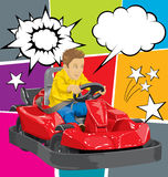 Boy driving go kart. Vector illustration of boy driving go kart so happy about it Stock Images