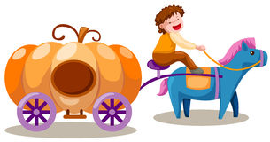 Boy driving pumpkin carriage Royalty Free Stock Image