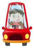Boy driving red car Royalty Free Stock Images