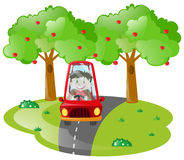 Boy driving in red car on the road Stock Photography