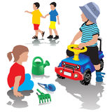 Boy driving toy car Royalty Free Stock Photography