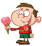 Boy Drooling. Over His Delicious Strawberry Ice Cream On A Cone Stock Photography