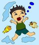Boy drowning Royalty Free Stock Images