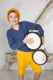 Boy with a drum Stock Photography