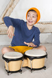 Boy with a drum Stock Photos