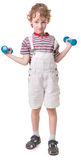 Boy with a dumbbell Royalty Free Stock Image