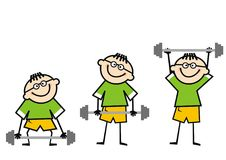 Boy and dumbbell, weight lifting, funny illustration. Male doing weight lifting. Funny illustration of a man, which doing squat weight lifting on white Royalty Free Stock Photography