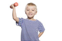 Boy with dumbbell Royalty Free Stock Photography