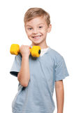 Boy with dumbbells Stock Photo