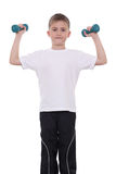 Boy with dumbbells Stock Photography