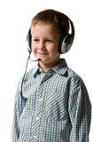 Boy with ear-phones Royalty Free Stock Images