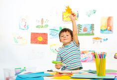 Boy in early development class Stock Photo