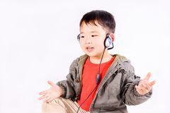 Boy with earphone Royalty Free Stock Photos