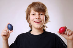 Boy with easter eggs Royalty Free Stock Images