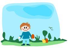 Boy and Easter eggs Royalty Free Stock Image