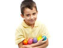 Boy with Easter eggs Stock Photography