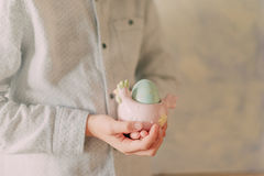 Boy with easter eggs Stock Images
