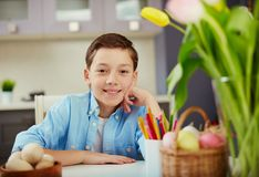 Boy at Easter Stock Images