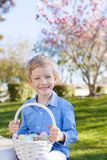 Boy at easter time. Smiling little boy holding easter basket with colorful eggs at spring time with blooming beautiful tree in the background royalty free stock photo