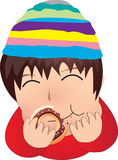 The boy eat donut. The cute boy eating donut stock illustration