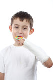 Boy eat lollipop Royalty Free Stock Photo
