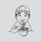 Boy eat noodle Stock Photography