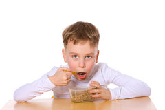 Boy eating Stock Photo