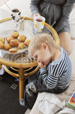 Boy eating. Child do not want to eat Stock Photography