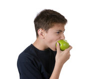 Boy eating apple. A young boy eating an apple.  Isolated on white Royalty Free Stock Images