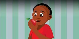 Boy eating apple. Cartoon vector illustration of a boy eating an apple Stock Photos
