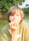 Boy eating an apple Stock Photos