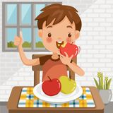 Boy eating apple. Sitting at the table eating fruit.Red apple biting.green apple in a tray placed on a table at home in the dining room.emotional mood on child` royalty free illustration
