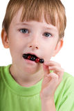 Boy eating berries Royalty Free Stock Photos