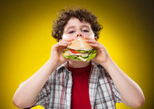 Boy eating big sandwich Stock Images
