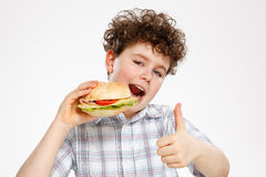 Boy eating big sandwich Royalty Free Stock Photography