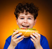 Boy eating big sandwiches Royalty Free Stock Photography