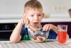 Boy Eating Bowl of Cereal for Breakfast Royalty Free Stock Image