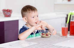 Boy Eating Bowl of Cereal for Breakfast Stock Photos