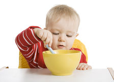 Boy eating breakfast Royalty Free Stock Photography