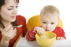 Boy eating breakfast Stock Photo