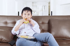 Boy eating a cheeseburger on the sofa Royalty Free Stock Photo