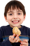 Boy Eating Chicken Stock Photo
